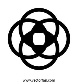 flower round shaped ornament silhouette style icon vector design