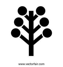 tree with circles silhouette style icon vector design