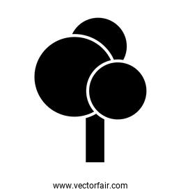 round shaped tree silhouette style icon vector design