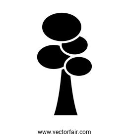 tree with ovals silhouette style icon vector design