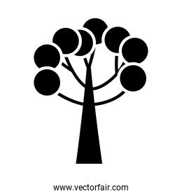 tree with circles black silhouette style icon vector design