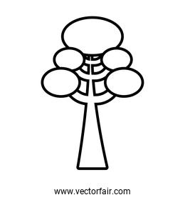 tree with ovals line style icon vector design