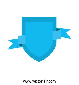 icon of decorative shield and ribbon icon, flat style