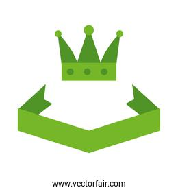 Decorative ribbon and crown sticker, flat style