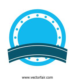 icon of ribbon and round seal stamp icon, flat style