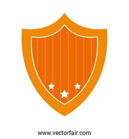 striped shield with decorative stars, flat style
