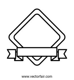 icon of rhombus frame with decorative ribbon icon, line style