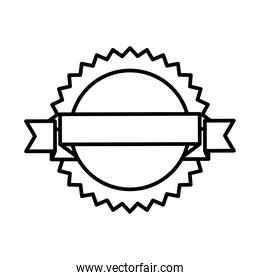 seal stamp with ribbon icon, line style