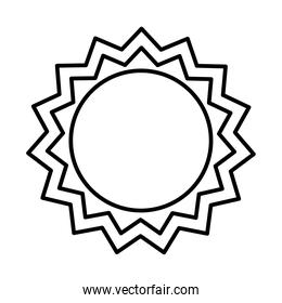 seal stamp with sun shape icon, line style