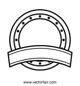 icon of ribbon and round seal stamp icon, line style