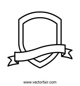 decorative shield with ribbon icon, line style