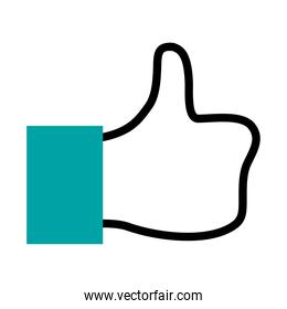 social media like icon, hand with thumb up icon, half line half color style