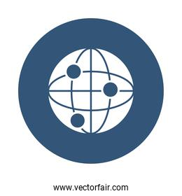global network sphere icon, block style