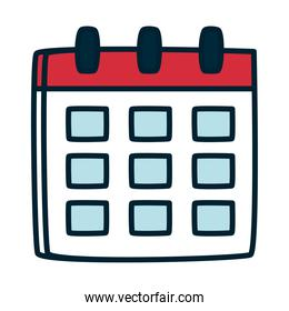 calendar planner icon, fill and line style