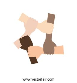 protest concept, Five Human Hands Holding Eachother For Solidarity And Unity, flat style