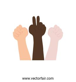 icon of hands with protesting gestures, flat style