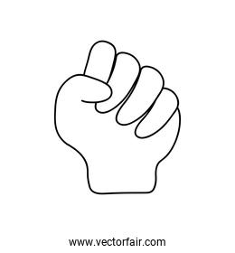 protest concept, Human hand with fingers folded into fist, line style