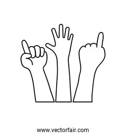 protesting concept, hands with protesting gesture, line style