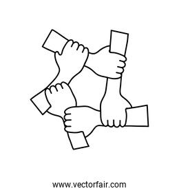 protest concept, Five Human Hands Holding Eachother For Solidarity And Unity, line style