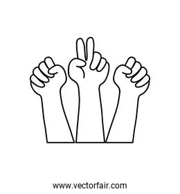 icon of hands with protesting gestures, line style
