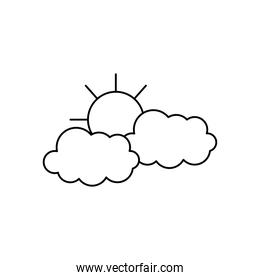 weather concept, sun and clouds icon, line style