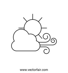 weather concept, wind cloud and sun icon, line style