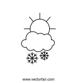 weather concept, sun and snowy cloud with snowflakes, line style