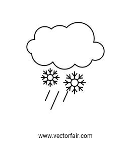 cloud and snowflakes icon, line style