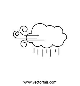 weather concept, wind cloud and rain, line style