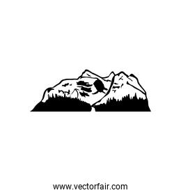 mountain with snow and grass, silhouette style