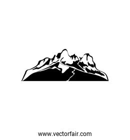 dry mountain with grass icon, silhouette style