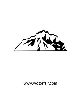 folded cold mountain icon, silhouette style