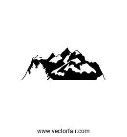 cold mountains and pines icon, silhouette style
