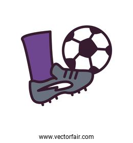foot with soccer ball line and fill style icon vector design