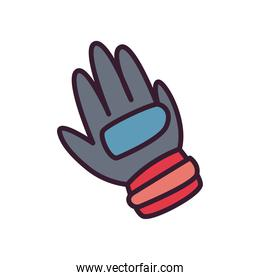 Soccer glove line and fill style icon vector design