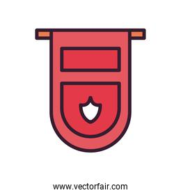Soccer banner line and fill style icon vector design