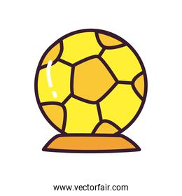 Soccer ball trophy line and fill style vector illustration