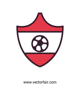 Soccer ball in red shield line and fill style icon vector design