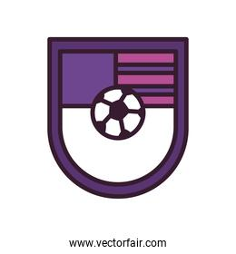 Soccer ball in shield line and fill style icon vector design