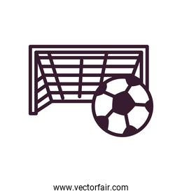 Soccer ball and goal line and fill style icon vector design