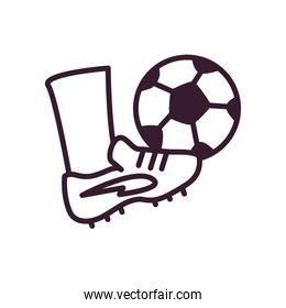 foot with soccer ball line style icon vector design