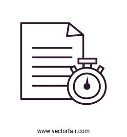 chronometer and document paper line style icon vector design