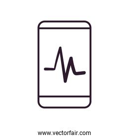 smartphone with pulse line style icon vector design