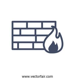 bricks wall with flame line style icon vector design