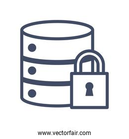 web hosting with padlock line style icon vector design