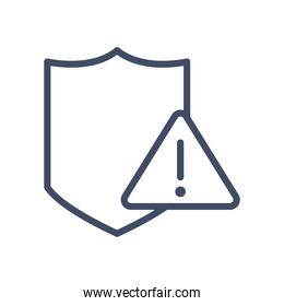 Shield with warning triangle line style icon vector design