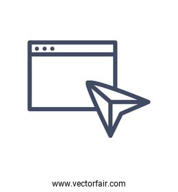 website page with paperplane line style icon vector design