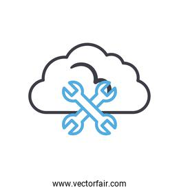 Cloud computing with wrench line style icon vector design