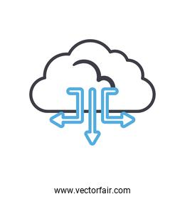 Cloud computing with arrows line style icon vector design
