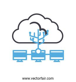 Cloud computing with computers line style icon vector design